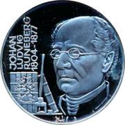 Finland 20 ECU Johan Runeberg 1995 Proof X# 19 JOHAN LUDVIG RUNEBERG 1804-1877 coin obverse