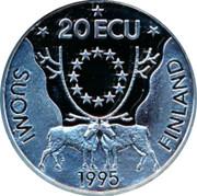 Finland 20 ECU Johan Runeberg 1995 Proof X# 19 20 ECU SUOMI FINLAND 1955 coin reverse