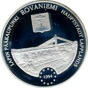 Finland 20 ECU Rovaniemi 1994 Proof X# 17 LAPIN PÄÄKAUPUNKI ROVANIEMI HAUPTSTADT LAPPLANDS 1994 coin obverse