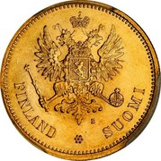 Finland 20 Markkaa Narrow eagle 1878 S Some specimens may appear as prooflike; Proofs were never made officially by the mint KM# 9.1 FINLAND SUOMI S coin obverse