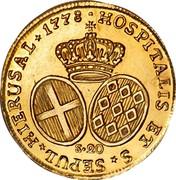 Malta 20 Scudi Emmanuel de Rohan 1778 KM# 311 HOSPITALIS ET S SEPUL * HIERUSAL * 1778 S∙20 coin reverse