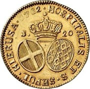 Malta 20 Scudi Emmanuel de Rohan 1782 KM# 330 HOSPITALIS ET S∙SEPUL∙ HIERUSA∙ 1782 ∙ S. 20 coin reverse