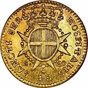 Malta 20 Scudi Emmanuel Pinto 1764 KM# 276 HOSPITALIS ET SANCTI SEP∙ S∙ 20 coin reverse