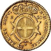 Malta 20 Scudi Francisco Ximenez de Texada 1774 KM# 294 ∙M∙H∙HOSPITALIS ET SANCTI SEPV: S 20 coin reverse