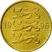 Estonia 20 Senti 1996 KM# 23 Standard Coinage 19 96 coin obverse
