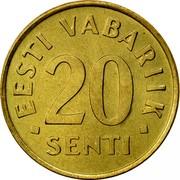 Estonia 20 Senti 1996 KM# 23 Standard Coinage • EESTI VABARIIK • 20 SENTI coin reverse