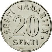 Estonia 20 Senti 1999 KM# 23a Standard Coinage • EESTI VABARIIK • 20 SENTI coin reverse