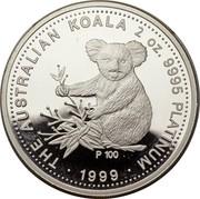 Australia 200 Dollars Koala 1999 P THE AUSTRALIAN KOALA 2 OZ. 9995 PLATINUM P 100 ∙ 1999 ∙ coin reverse