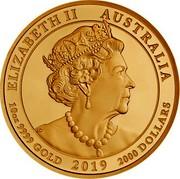 Australia 2000 Dollars The Jewelled Dragon 2019 P Proof ELIZABETH II AUSTRALIA 10 OZ 9999 GOLD 2019 2000 DOLLARS IRB coin obverse
