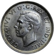 Canada 25 Cents George VI 1943 KM# 35 GEORGIVS VI D:G:REX ET IND:IMP: HP coin obverse