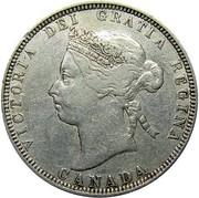 Canada 25 Cents Victoria 1883 H KM# 5 VICTORIA DEI GRATIA REGINA CANADA coin obverse