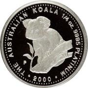 Australia 25 Dollars Koala 2000 P THE AUSTRALIAN KOALA 1/4 OZ. 9995 PLATINUM 2000 P coin reverse