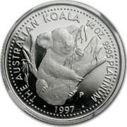 Australia 25 Dollars (Koala) THE AUSTRALIAN KOALA 1/4 OZ. 9995 PLATINNUM ∙ 1997 ∙ coin reverse