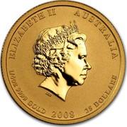 Australia 25 Dollars Year of the Mouse - Coloured 2008 P MS-BU ELIZABETH II AUSTRALIA 1/4 OZ 9999 GOLD 2008 25 DOLLARS IRB coin obverse