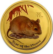 Australia 25 Dollars Year of the Mouse - Coloured 2008 P MS-BU YEAR OF THE MOUSE P coin reverse
