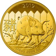 Australia 25 Dollars Year of the Pig (Gold Lunar Series II) 2019 Proof 2019 1/4 OZ 9999 AU coin reverse