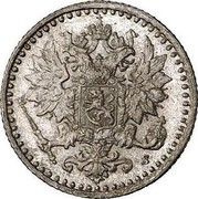 Finland 25 Pennia Alexander II Large letters 1866 S KM# 6.1 coin obverse