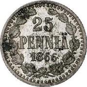 Finland 25 Pennia Alexander II Large letters 1866 S KM# 6.1 25 PENNIÄ DATE coin reverse