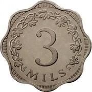 Malta 3 Mils Bee Over Honeycomb 1972 Proof KM# 6 3 MILS coin reverse