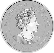Australia 30 Dollars Humpback Whale 2019 P Proof ELIZABETH II AUSTRALIA 1/3 OZ 9995 PT 2019 30 DOLLARS IRB coin obverse