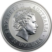 Australia 30 Dollars Kookaburra - Japanese Royal Baby privy mark 2001 P Proof ELIZABETH II AUSTRALIA 30 DOLLARS IRB coin obverse