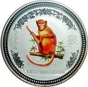 Australia 30 Dollars Year of the Monkey - Colored 2004 MS-BU 2004 1 KILO 999 SILVER SA coin reverse