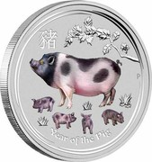 Australia 30 Dollars Year of the Pig Gemstone 2019 P Proof YEAR OF THE PIG P coin reverse