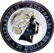 Australia 30 Dollars Year of the Rooster - diamond eye 2005 P KM# 697.1 ELIZABETH II AUSTRALIA 30 DOLLARS IRB coin obverse
