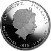 Australia 30 Dollars Year of the Tiger. Gemstone eye 2010 P KM# 1319a ELIZABETH II AUSTRALIA 1KG 999 SILVER 2010 30 DOLLARS coin obverse