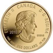 Canada 350 Dollars Prairie Crocus 2010 Proof KM# 1019 ELIZABETH II CANADA D· G· REGINA 2010 .99999 FINE GOLD 350 DOLLARS OR PUR coin obverse