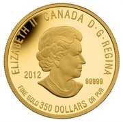 Canada 350 Dollars Sir Isaac Brock 2012 Proof KM# 1327 ELIZABETH II CANADA D· G· REGINA 2012 .99999 FINE GOLD 350 DOLLARS OR PUR coin obverse
