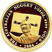 Australia 4 Dollars Eureka Stockade 2004 THE AUSTRALIAN NUGGET 1/25 OZ. 9999 GOLD 2004 coin reverse