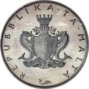 Malta 4 Pounds St. Agatha's Tower at Gammieh - Old arms 1975 KM# 32 REPUBBLIKA TA MALTA coin obverse