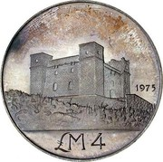 Malta 4 Pounds St. Agatha's Tower at Gammieh - Old arms 1975 KM# 32 LM4 1975 coin reverse