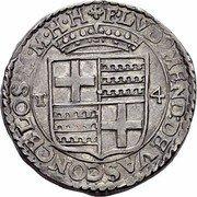 Malta 4 Tari Luis Mendes de Vasconcellos 1622 KM# 39 F LVD 9 MEND DE VASCONCELOS M M H H T 4 coin obverse