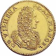 Malta 4 Zecchini Antonio Manoel de Vilhena 1725 KM# 185 F∙D∙AN: MANOEL DE VILHENA coin obverse