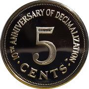 Malta 5 Cents 10th Anniversary of Decimalization 1982 (P) Proof KM# 59 10TH ANNIVERSARY OF DECIMALIZATION 5 CENTS coin reverse