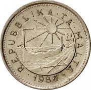Malta 5 Cents 1986 Proof KM# 77 Reform Coinage ∙REPUBBLIKA∙TA'∙MALTA∙ 1986 coin obverse