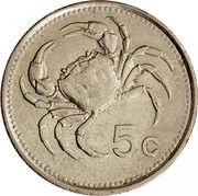 Malta 5 Cents 1986 Proof KM# 77 Reform Coinage 5C coin reverse
