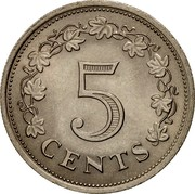 Malta 5 Cents Altar in the Temple of Hagar Qim 1976 (M) KM# 10 5 CENTS coin reverse
