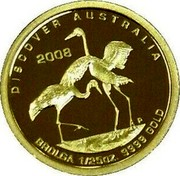 Australia 5 Dollars Discover Australia - Brolga 2008 DISCOVER AUSTRALIA 2006 BROLGA 1/25 OZ. 9999 GOLD coin reverse