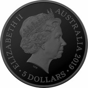 Australia 5 Dollars Echoes of Australian Fauna - Lesser Bilby 2019 ELIZABETH II AUSTRALIA 2019 5 DOLLARS IRB coin obverse