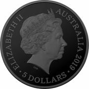 Australia 5 Dollars Echoes of Australian Fauna - Tasmanian Tiger 2019 ELIZABETH II AUSTRALIA 2019 5 DOLLARS IRB coin obverse