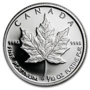 Canada 5 Dollars Elizabeth II 2nd Portrait 1989 Proof KM# 164 CANADA 9995 9995 FINE PLATINUM 1/10 OZ PLATINE PUR coin reverse