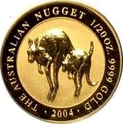 Australia 5 Dollars Kangaroos (Jumping) 2004 Proof THE AUSTRALIAN NUGGET 1/20 OZ. 9999 GOLD • 2004 • coin reverse