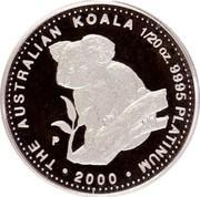 Australia 5 Dollars Koala 2000 P THE AUSTRALIAN KOALA 1/20 OZ. 9995 PLATINUM 2000 P coin reverse