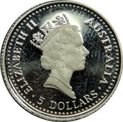 Australia 5 Dollars (Koala) ELIZABETH II AUSTRALIA 5 DOLLARS coin obverse