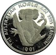 Australia 5 Dollars (Koala) THE AUSTRALIAN KOALA 1/20 OZ 9995 PLATINUM 1991 coin reverse