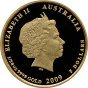 Australia 5 Dollars Kookaburra 20th Anniversary 2009 P20 Proof KM# 1306 ELIZABETH II AUSTRALIA 1/20 OZ 9999 GOLD 2009 5 DOLLARS coin obverse