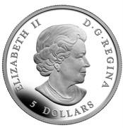 Canada 5 Dollars Maple Leaf - 25th Anniversary - High Relief Piedfort 2013 Proof KM# 1525 ELIZABETH II D ∙ G ∙REGINA 5 DOLLARS coin obverse